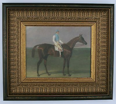 Horse and Jockey  Framed Oleograph R208#W  Reproduction Antiques  , Art