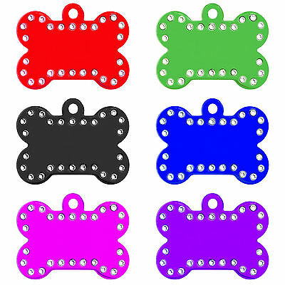 Large Crystal Bone Engraved Dog Id Name Tag Disc Personalised Pet Identity Tags