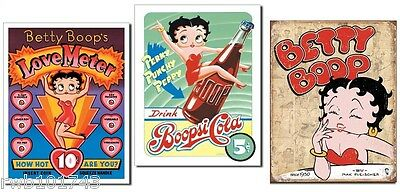 Lot of 3 Betty Boop TIN SIGN vintage retro 50s metal poster wall art home decor