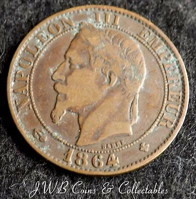 1864-BB Napoleon III France 5 Centimes Coin