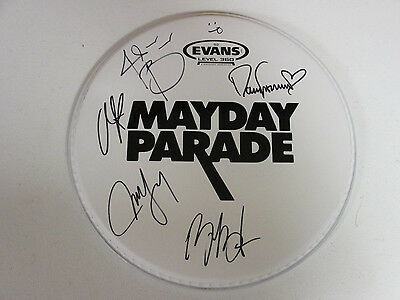 Mayday Parade Autographed Signed Drumhead With Signing Picture Proof
