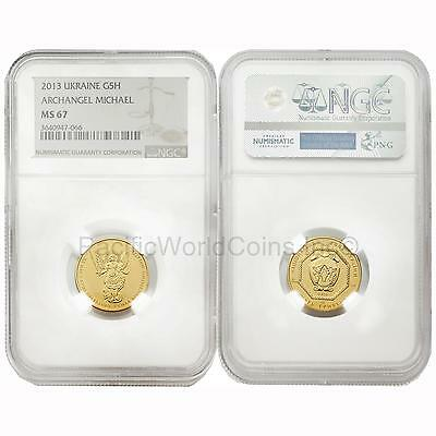 Ukraine 2013 Archangel Michael 5 Hryven 1/4 oz Gold NGC MS67
