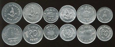Nepal Set Of 6 Coins 1 5 5 10 10 50 Paisa Unc