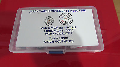 Japan Made Watch Movements Assortment Total 12Pcs