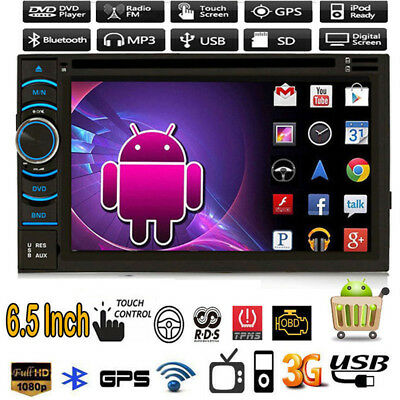 "Quad Core Android 4.4 3G WIFI 6.5"" Double 2DIN Car Radio Stereo DVD Player GPS"