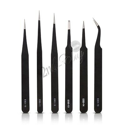 6Pcs VETUS Original Genuine High Quality Anti-static ESD Switzerland Tweezers