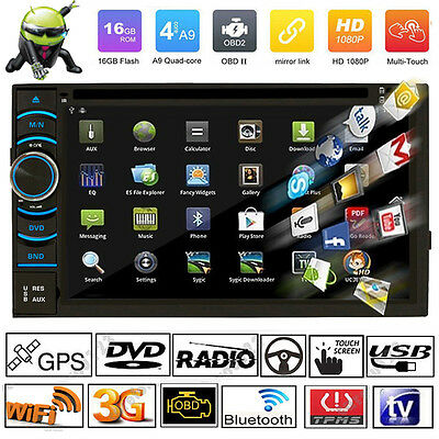 "Android 4.4 Quad Core WiFi 3G 6.5"" Car GPS DVD Player 2 Din Radio Stereo Touch"