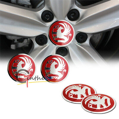 4PCS 56.5mm Red Aluminum Car Wheel Center Hub Cap Emblems Stickers for Vauxhall