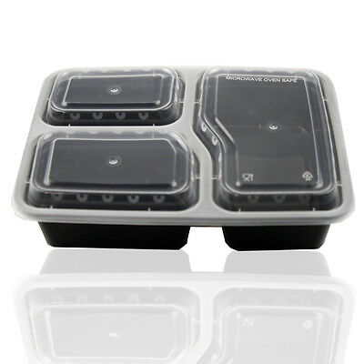 10x Microwave Safe Stackable Reusable Plastic Meal Prep Containers Food Storage