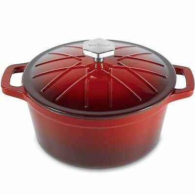 VonShef 3.8L Red Enamel Cast Iron Oven Casserole Dish Stewing Cooking Pot