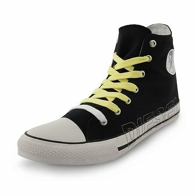 82bf63a5b67 Diesel New Mens High Top Canvas Shoes Fashion Plimsolls Black Trainers  Sneakers