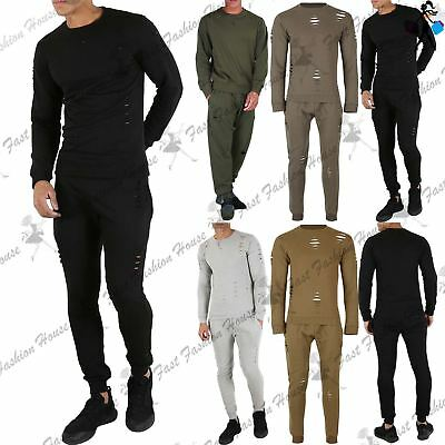 King Kouture Mens Destroyed Ripped Lazer Cut Top Cuffed Joggers Tracksuit Set