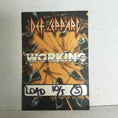 Def Leppard 2016 Back Stage Pass Local Working New Unpeeled