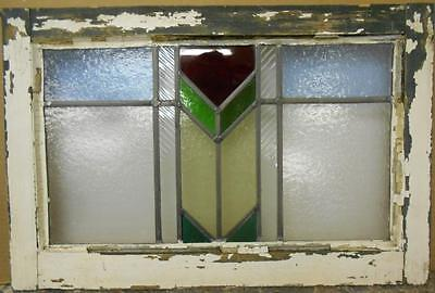 "MID SIZED OLD ENGLISH LEADED STAINED GLASS WINDOW Sweet Geometric 22.75"" x 15.25"