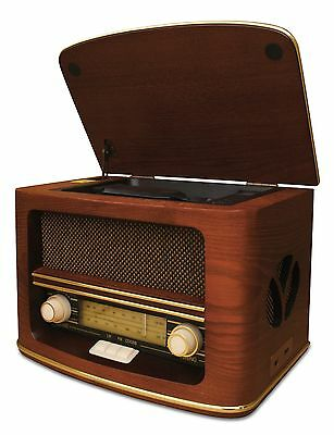 Retro Holz Kompaktanlage Cd Mp3 Usb Player Nostalgie Radio Classic Musikanlage