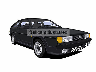 Vw Scirocco Mk2 Car Art Print Picture (Size A4). Personalise It!