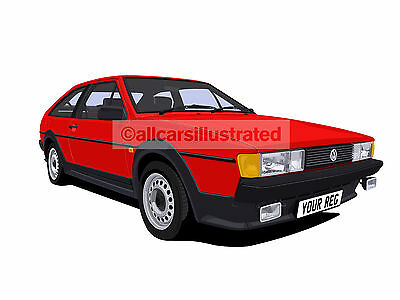 Vw Scirocco Mk2 Car Art Print (Size A3). Choose Your Colour, Add Your Reg Plate