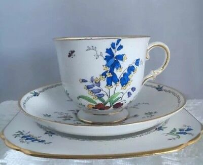 Vintage Tuscan Bone China Trio Pretty Bluebells Butterflies Flowers Floral