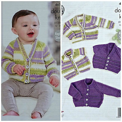 Baby KNITTING PATTERN Baby Long/Short Sleeve Eyelet Cardigans DK 4619 King Cole