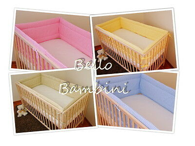 All round nursery bumper/420/360cm long/Padded 4 Sided/Cot Bed CHECK DESIGN