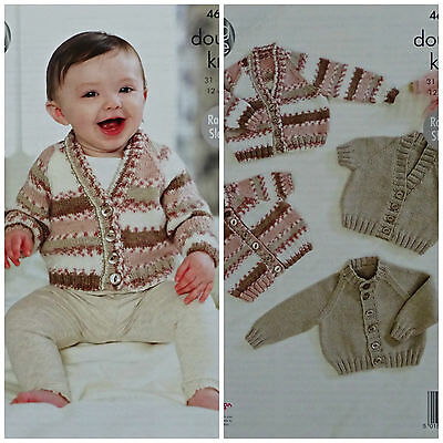 Baby KNITTING PATTERN Baby Round & V-Neck Cardigans DK 4621 King Cole