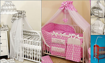 LUXURY CANOPY DRAPE & Holder/Pole - 585 x 170cm for BABY Cot/Cot Bed