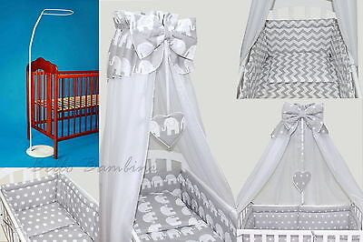 11 pcs CRIB bedding set /BumperALL ROUND/sheet/duvet/CANOPY/FREE STANDING HOLDER