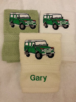 A Personalised Land Rover Face Cloth For Dad Birthday Gift  Embroidered!