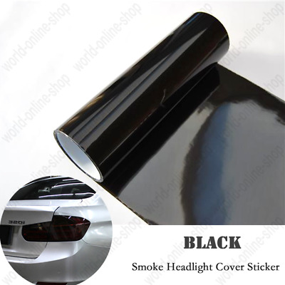 "12"" x 48"" Gloss Dark Smoke Vinyl Film Fog Wrap Cover Tint Headlight Taillight"