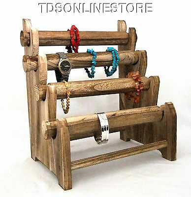 Rustic Oak Four Tier Bracelet And Watch Storage/Display