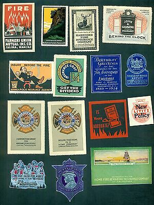 1910's-1930's Fire Insurance Co. Advertising Poster Stamps & Seals Collection