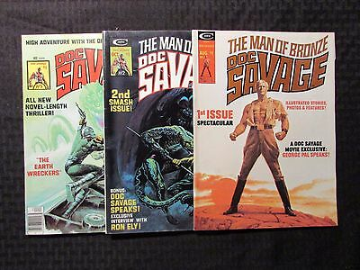 1975 DOC SAVAGE Magazine #1 2 5 FN-/FN 5.5/6.0 Marvel Curtis LOT of 3