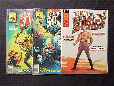 1975 DOC SAVAGE Magazine #1 6 7 FN-/FN+ 5.5/6.5 Marvel Curtis LOT of 3