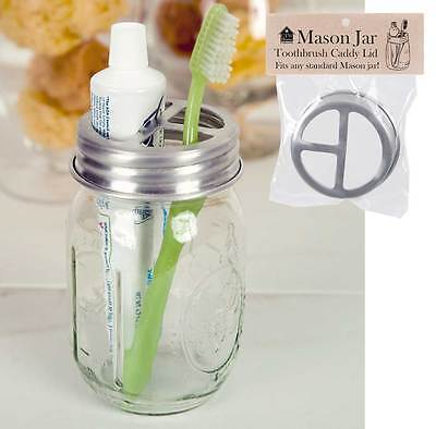 Farmhouse/Cottage/Primitive/Country Mason Jar Toothbrush Holder Lid - SILVER