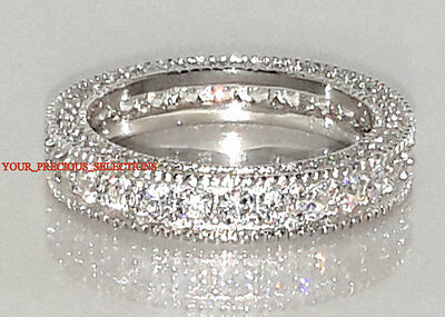 925 Sterling Silver Eternity CZ Wedding Anniversary Band Sizes 5 6 7 8 9 10 11