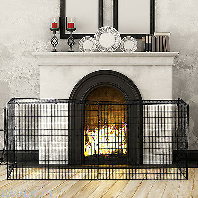 HOMCOM Extendable Fireplace Guards Fireplace Safe Screen Wire Mesh Black