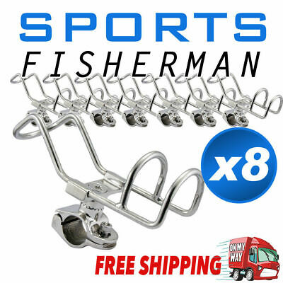 8x Quality Stainless Steel Rod Holder RAIL Mount Double Wire Fishing Boat Kayak