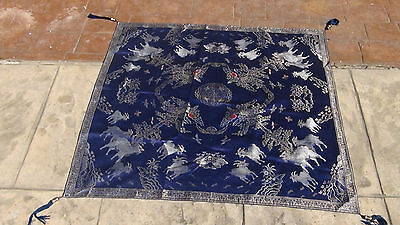 Antique19C Chinese Qing Silk Embroidery Chinese Gift Wrapping ,goats And Trees