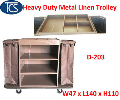 TCS New Metal Commercial Housekeeping Linen Trolley Guest Room Service Cart