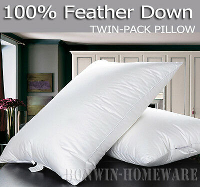 Pure 330TC Cotton Covered 100% Duck Feather Down Standard Size White Pillow 2PC