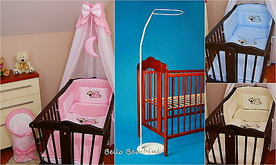 10 pcs CRIB bedding set /Bumper/sheet/duvet/CANOPY/FREE STANDING HOLDER/MOON