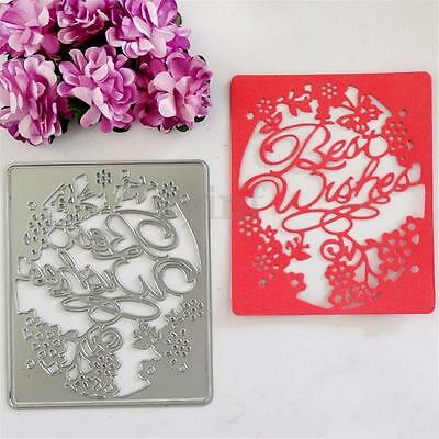 Best Wishes Cutting Dies Stencil Embossing DIY Scrapbooking Cards Decorative