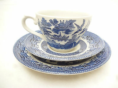 BLUE WILLOW PATTERN CUP SAUCER PLATE TRIO - Churchill England - very good cond.