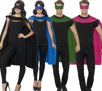 Mens Ladies Super Hero Capes Halloween Fancy Dress Accessoey & Mask
