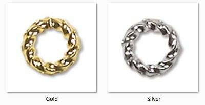 Twisted Jump Rings Plated - available in Silver or Gold, Sizes 6, 8 or 10mm