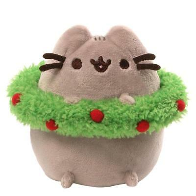 Gund 4053795 Pusheen the Grey Cat Christmas with Wreath