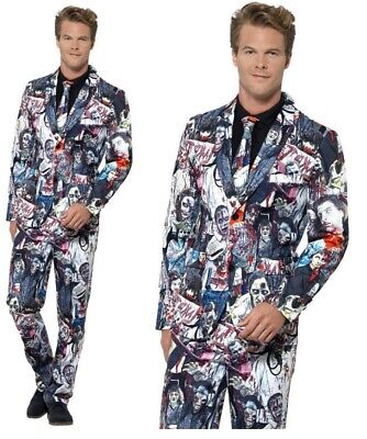Zombie Design Mens Suit Halloween Fancy Dress Costume Stand Out Suits