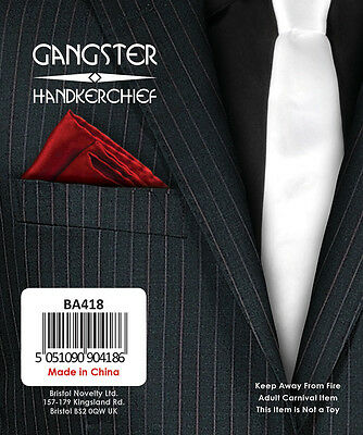 Gangster Mob Al Capone 1920s/30s Red Pocket Handkerchief Fancy Dress Accessory