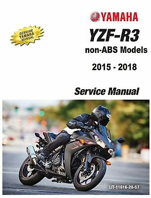2015-2016 Yamaha YZF R3 motorcycle paper service manual in 3-ring binder