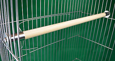 "2 x 24mm natural wood perches,anti chew ends Parrot cage 16""-42"""